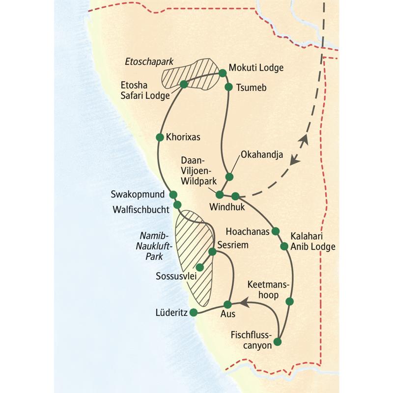 Unsere Studienreise Namibia - die Große Namibiareise ist eine umfassende Reise  mit Fischflusscanyon, Kalahari und Lüderitz, zum Abschluss mit einer Safari im Etoschapark.