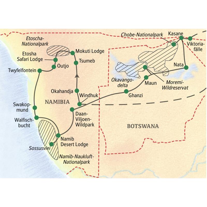Alle Höhepunkte Namibias und Botswanas in einer Reise. Mit Studiosus unterwegs im Süden Afrikas.