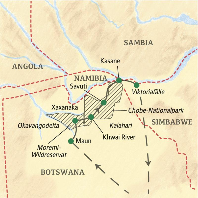 Auf unserer Expeditions-Studienreise Botswana - mit Okavangodelta sind Sie mit Ihrem Studiosus-Reiseleiter abseits der Zivilisation unterwegs. Fahrten im Geländewagen, Übernachtungen in Zelten.