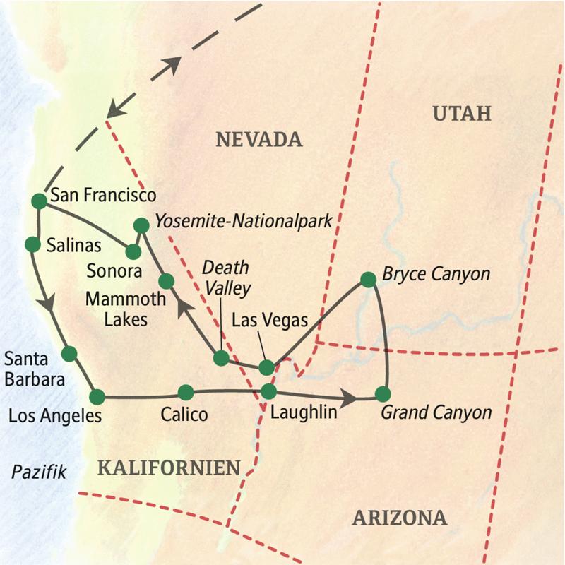 Reiseroute der Studienreise USA - die Westküste mit den Highlights San Francisco, Santa Barbara, Los Angeles, Grand Canyon, Bryce Canyon, Death Valley und Yosemite-Nationalpark