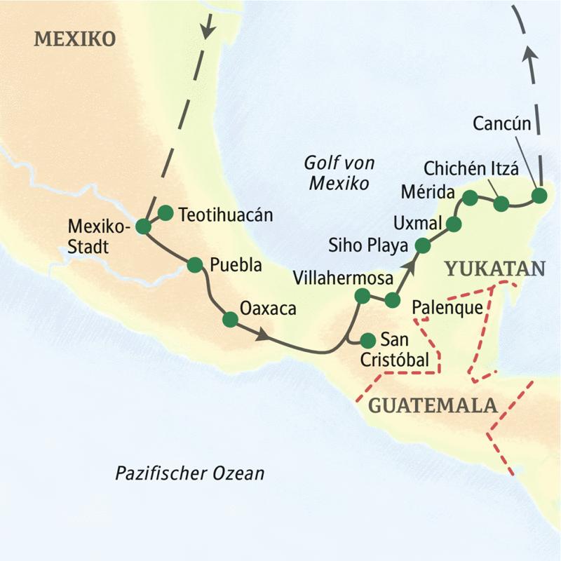 Die Studiosus-Reise durch Mexiko führt uns in gut 2 Wochen aus der Welt der Azteken im mexikanischen Hochland in das Reich der Maya auf der Halbinsel Yukatan.