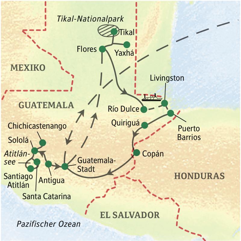 2 Wochen lang mit Studiosus durch Guatemala, zu alten Mayastätten und lebendiger Mayakultur. Wir besuchen Antigua, den Markt von Chichicastenango, den Atitlánsee und natürlich Tikal. Auch die Karibik darf nicht fehlen.