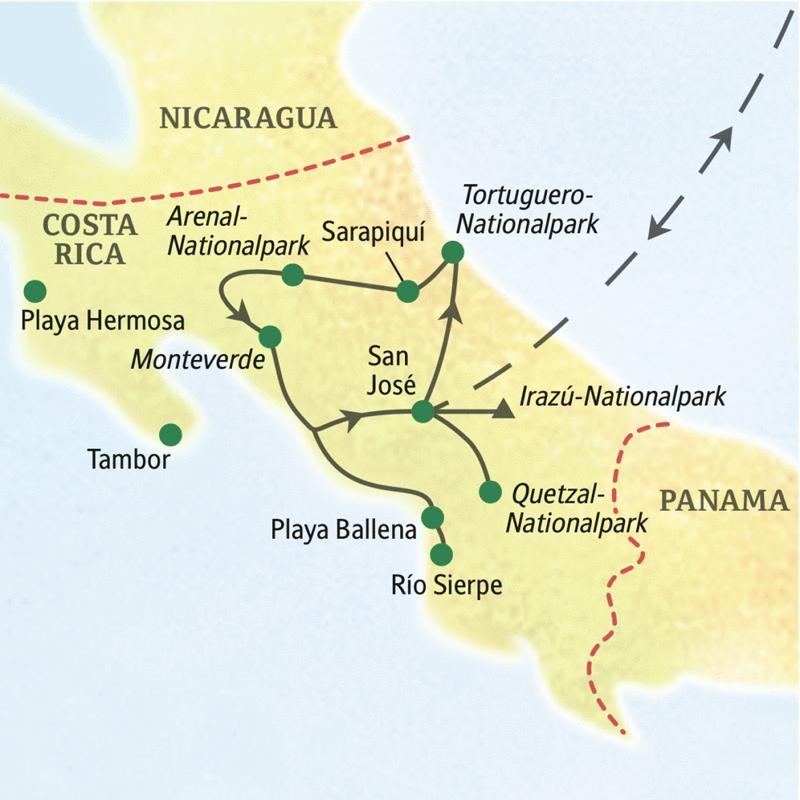 Ausgangspunkt dieser Rundreise ist San José, und wir erleben Küstenlandschaften und ein fantastisches Landschaftsspektrum.