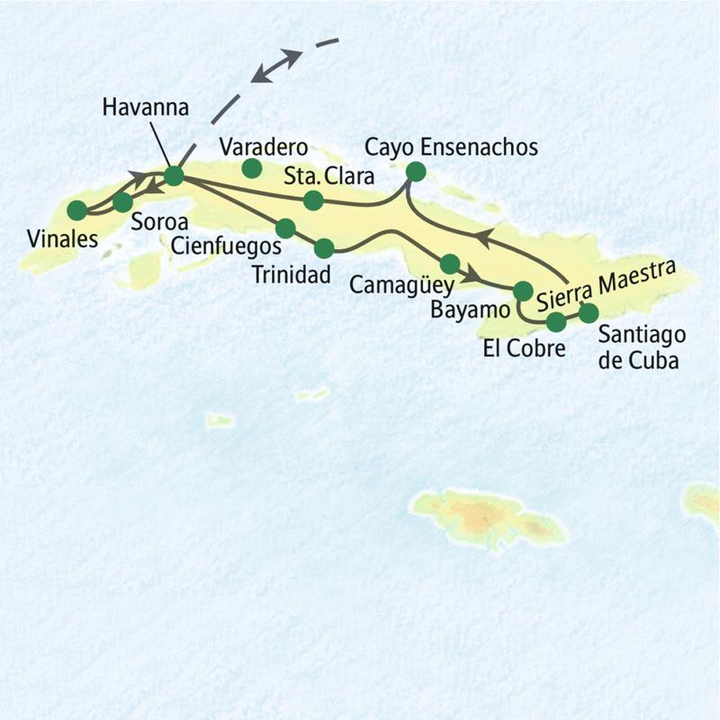 Von Havanna geht die Reise nach einem Abstecher nach Viñales Richtung Osten, über Trinidad und Camagüey erreichen wir Santiago de Cuba. Badetage auf  Cayo Ensenachos inklusive