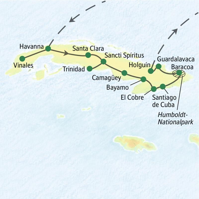 Unsere Route von West nach Ost durch Kuba startet in Havanna und führt uns nach Vinales und Trinidad. Sie erleben auf dieser Studienreise auch Santiago de Cuba und den Humboldt-Nationalpark.