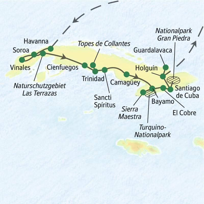 Unsere Wander-Studienreise durch Kuba beginnt in Havanna und führt uns von West nach Ost. Sie erleben die schönsten Naturlandschaften, Trinidad und Santiago de Cuba.