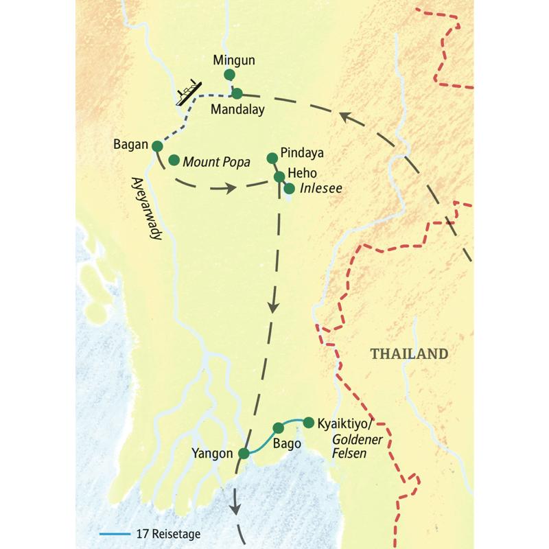 Die Reiseroute unserer Studienreise durch Myanmar beginnt in Mandalay und endet in Yangon.