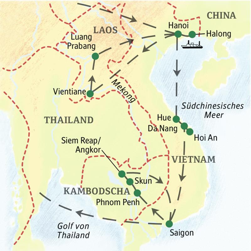 Die Studienreise zeigt Ihnen auf einer Route die Höhepunkte von Vietnam, Kambodscha und Laos