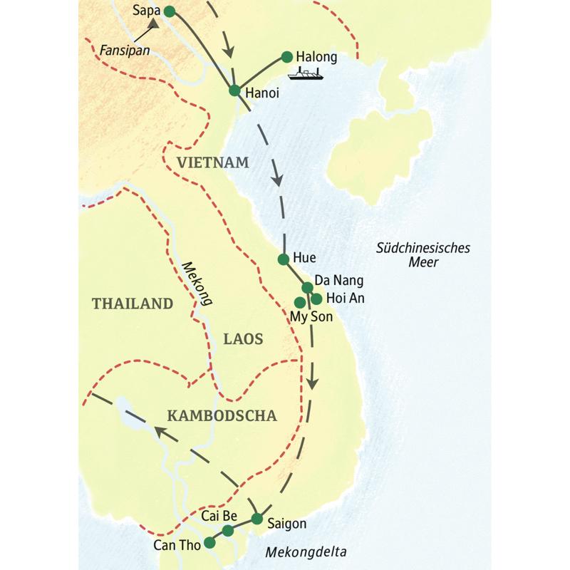 Unsere umfassende Studienreise durch Vietnam zeigt Ihnen die Höhepunkte Vietnams. Bootsfahrten in der Halongbucht, in Hue, Saigon und im Mekongdelta werden Sie begeistern, ebenso alte Tempel, junge Metropolen und die landestypische Küche.