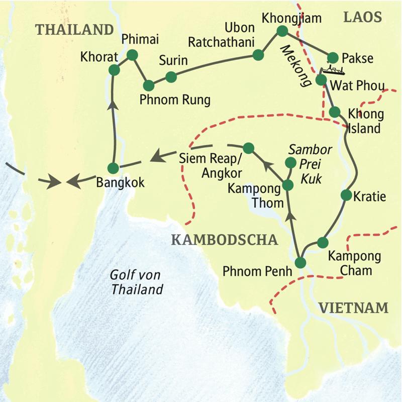 Die Reiseroute führt von Bangkok durch den Osten Thailands nach Südlaos und von dort den Mekong entlang nach Phnom Penh. Drei Tage an den Tempeln von Angkor bilden das glanzvolle Finale dieser klassischen Studienreise durch das Land der Khmer.