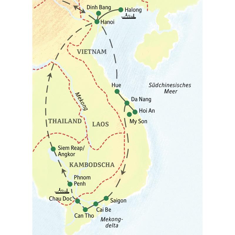 Unsere Reiseroute startet in Hanoi und führt über Hue, Hoi An bis nach Saigon. Auch Siem Reap und Angkor erleben Sie auf dieser Studienreise.