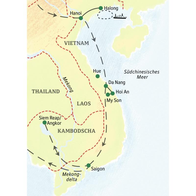 Die Reiseroute beginnt in Hanoi und  führt durch Vietnam bis nach Siem Reap in Kambodscha.