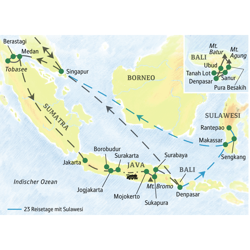 Unsere Studienreise durch Indonesien startet in Medan auf Sumatra und führt nach Bali. Wer möchte, kann die Reise nach Sulawesi verlängern.