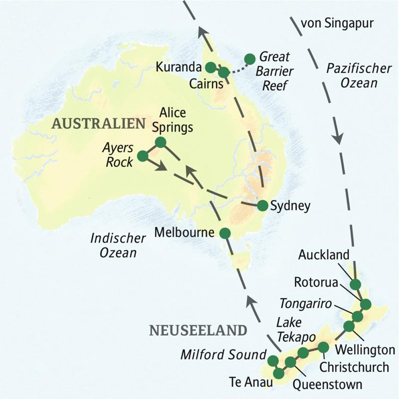 Die Reiseroute unserer Studienreise durch Australien und Neuseeland zeigt Ihnen grandiose Naturschönheiten und bringt Ihnen die Geschichte und die Mythen der Aborigines und der Maori näher. Spannende Metropolen wie Melbourne, Sydney und Auckland runden das Kennenlernen ab.