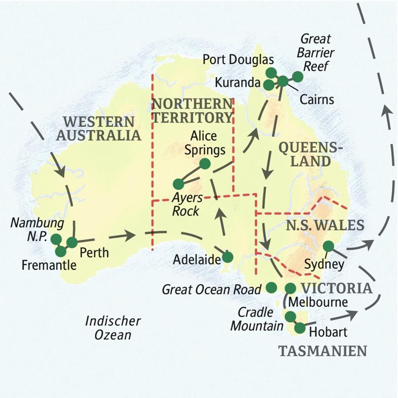 Unsere Große Australienreise zeigt Ihnen alle Facetten dieses Sehnsuchtslandes auf der anderen Seite der Erde: Metropolen wie Sydney, Melbourne oder Adelaide, rote Wüsten im Outback und kunterbunte Unterwasserwelten - und Tasmanien ist auf dieser Studienreise auch dabe!
