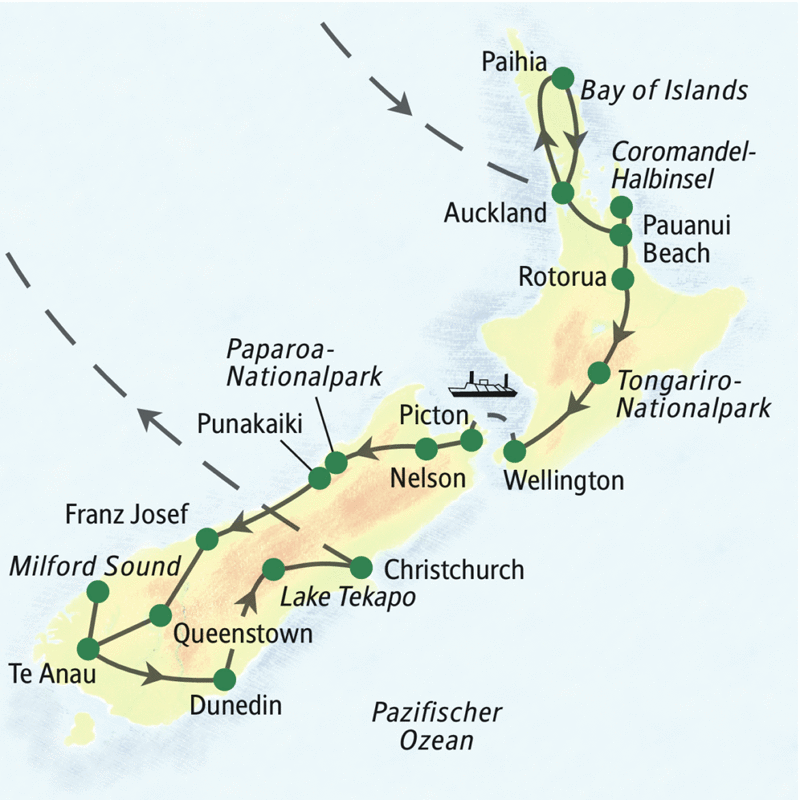 Unsere große Neuseeland-Studienreise folgt dem Verlauf: Beginn in Auckland, Paihia, Bay of Islands, Coromandel-Halbinsel, Pauanui Beach, Rotorua, Tongariro-Nationalpark, Wellington, Picton, Nelson, Paproa-Nationalpark, Punakaiki, Franz Josef, Queenstown, Te Anau, Milford Sound, Dunedin, Lake Tekapo, Christchurch