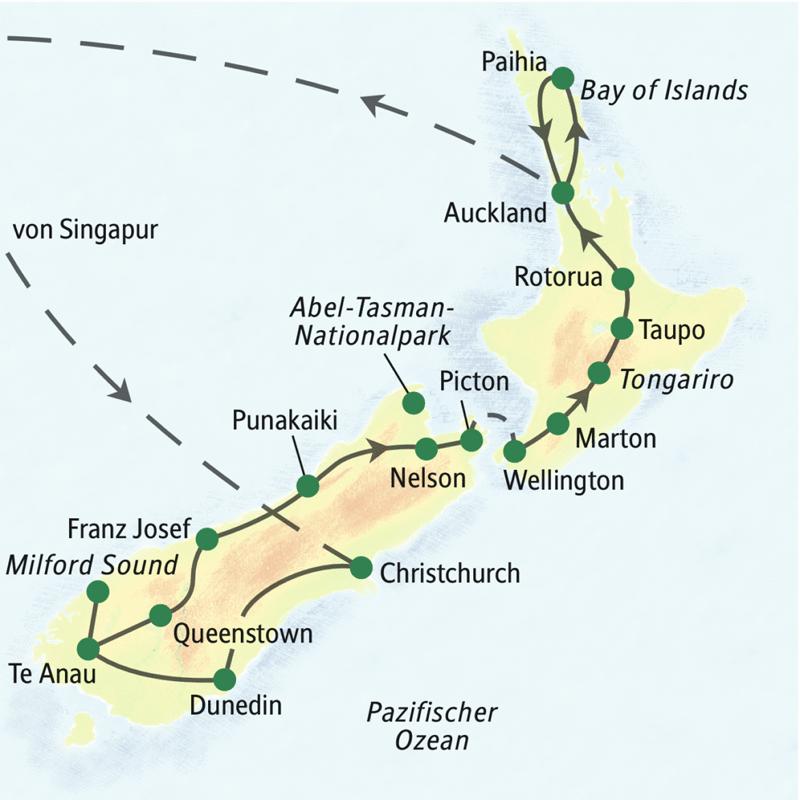 Verlauf unserer Studienreise Neuseeland mit Muße: Auf der Südinsel sehen wir Christchurch, Dunedin, Te Anau, den Milford Sound, Queenstown, Franz Josef, Punakaiki, Nelson, den Abel-Tasman-Nationalpark und Picton. Dann setzen wir über zur Nordinsel und besuchen Wellington, Marton, Tongariro, Taupo, Rotourua, Auckland, die Bay of Islands und Paihia.