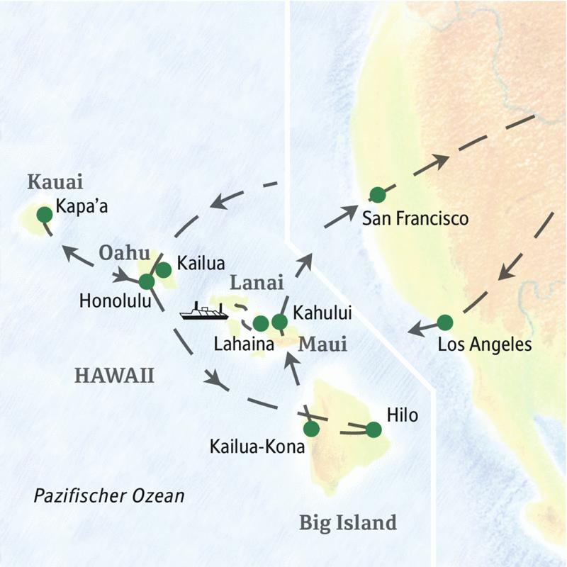 Die wichtigsten Stationen dieser Studienreise sind Honolulu und Waikiki, Maui, Big Island und Kauai.