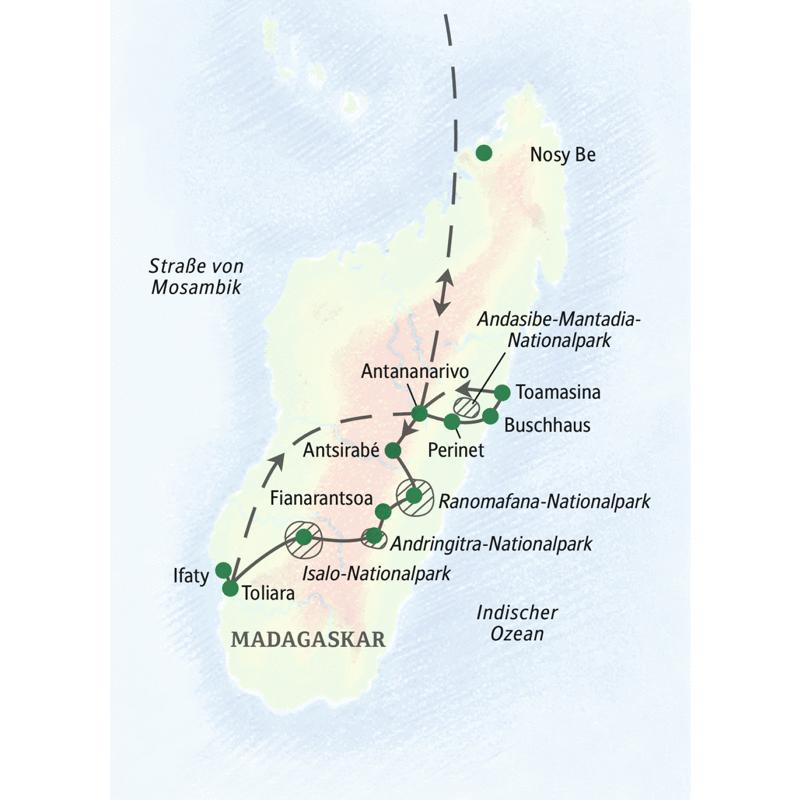 Unsere Studienreise nach Madagaskar führt Sie voller Abwechslung über die Insel der Lemuren. Mit Überlandfahrt an der Südwestküste und Abstecher in die Andringitraberge.