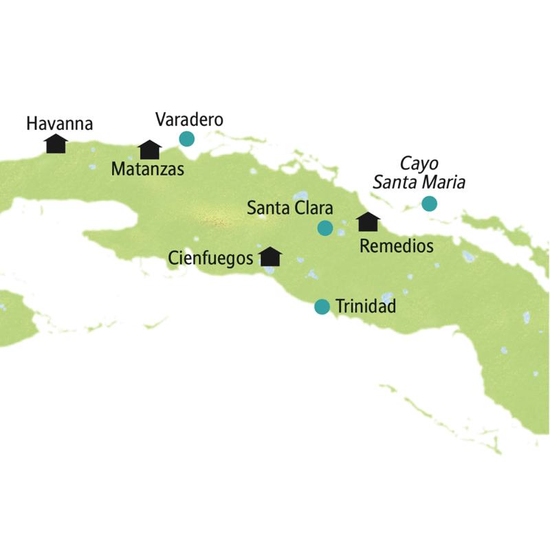 Kuba - Karibikflair der Isla Grande: Unser Ausgangspunkt ist Havanna. Weitere Stationen dieser Rundreise in kleiner Gruppe: Cienfuegos, Trinidad, Santa Clara, die Insel Cayo Santa María und Matanzas.