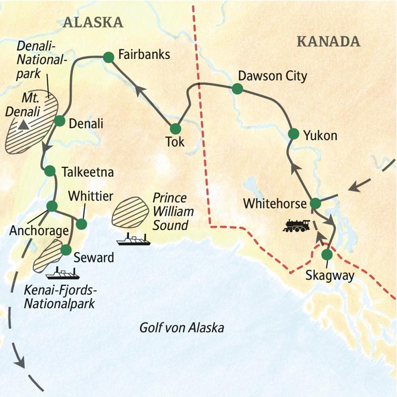 Mit dem Zug, per Boot und mit dem Bus erleben wir die Naturwunder im Norden Nordamerikas, in Alaska und dem kanadischen Yukon.