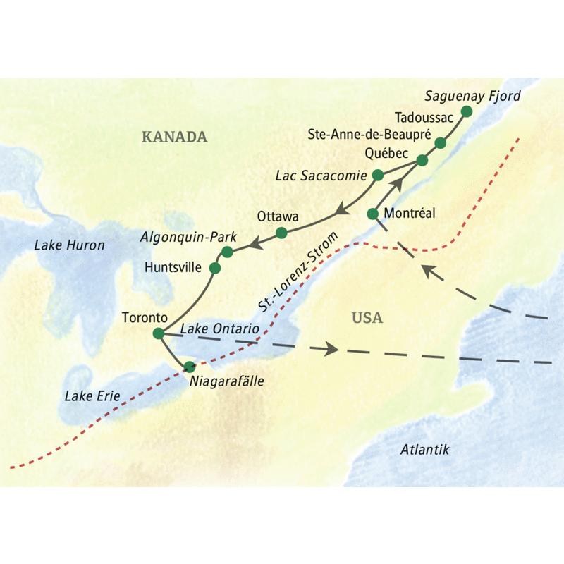 Die Reiseroute unserer Studienreise durch Ostkanada beginnt in Montréal, führt über Ottowa bis nach Toronto.