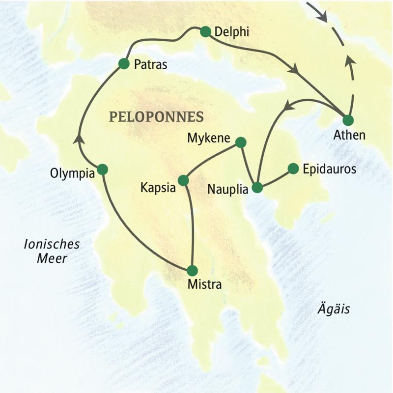 Erleben Sie auf dieser Studienreise die Höhepunkte Griechenlands: In acht Tagen zeigen wir Ihnen die bekanntesten Zeugnisse des klassischen Altertums und das moderne griechische Leben. Sie werden sehen: Griechenland ist viel mehr als Sirtaki, Tsatsiki, Tempel und Orakel!