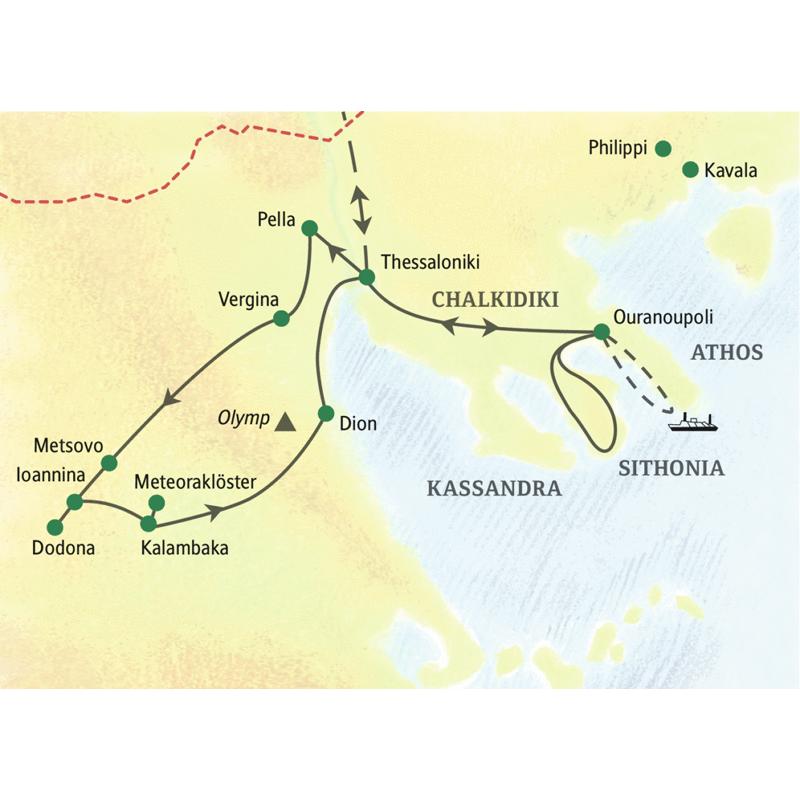 Reiseroute der Studienreise nach Nordgriechenland mit Thessaloniki, Meteoraklöstern und Chalkidiki