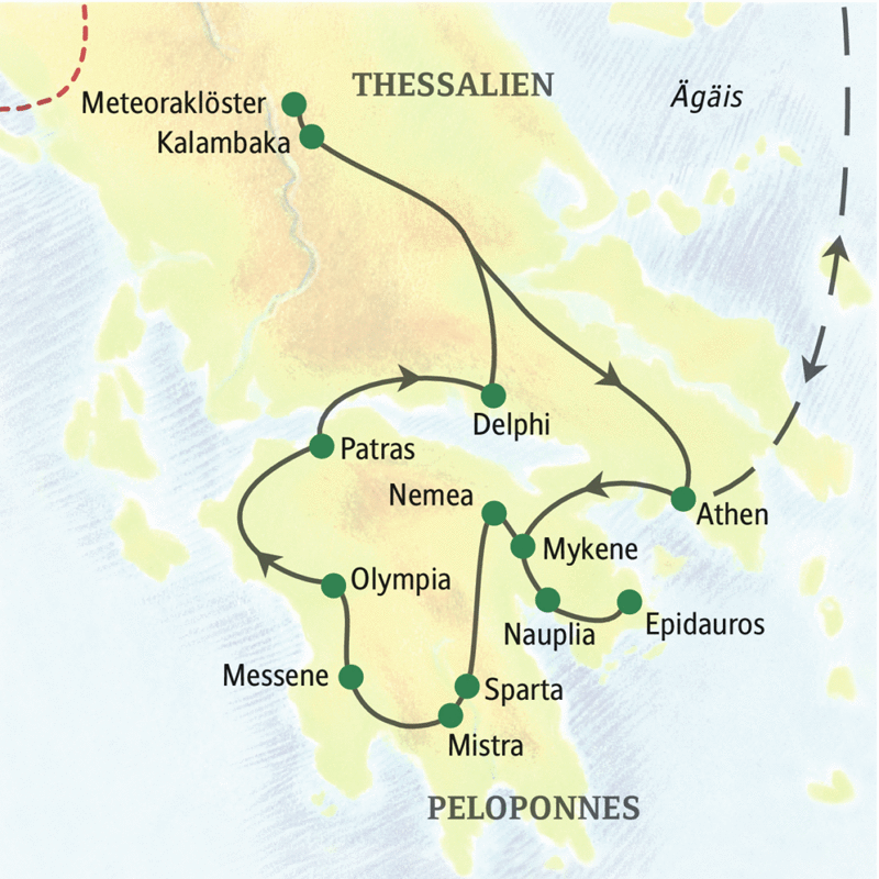 Auf unserer Studienreise erkunden wir intensiv und in kleiner Gruppe die bedeutendsten kulturellen Highlights auf dem griechischen Festland.