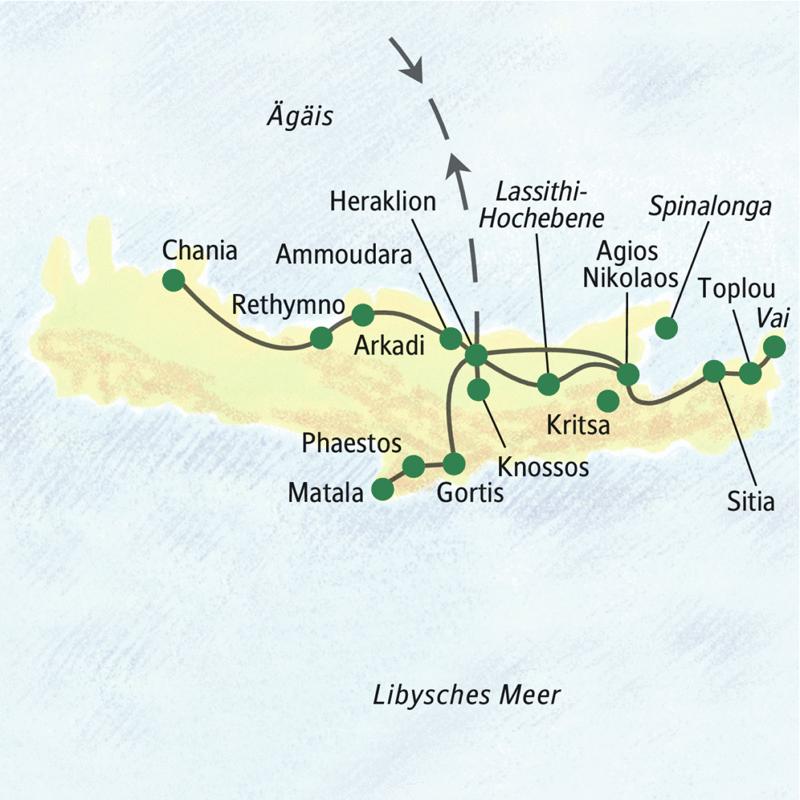 Die wichtigsten Stationen dieser achttägigen Studienreise nach Kreta sind Heraklion, Agios Nikolaos, Chania, Rethymno, Knossos, Phaestos, Gortis, Arkadi, Kloster Toplou und die Lassithi-Hochebene.
