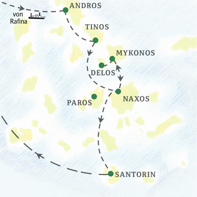 Auf dieser Studienreise besuchen Sie die Inseln Andros, Tinos, Mykonos, Delos, Naxos, Santorin und auf Wunsch Paros.  Die 13-tägige Reise verbindet die kulturellen Highlights auf sechs der spannendsten Kykladeninseln mit Stränden, Pool und leckeren Tavernenessen.
