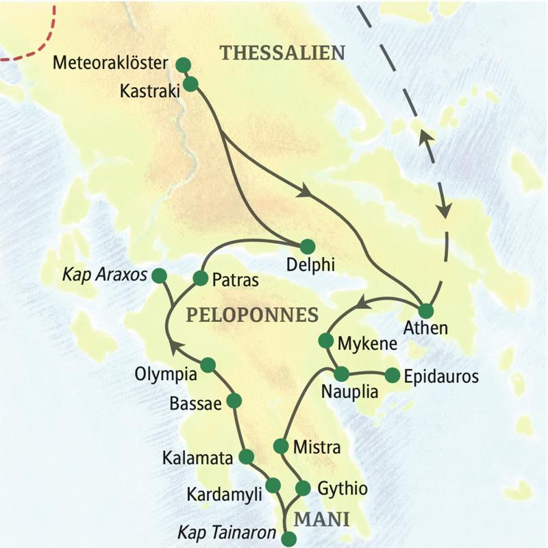Höhepunkte dieser 14-tägigen Wander-Studienreise durch Griechenland: Delphi, Olympia, Kalamata, Mani, Meteoraklöster, Mistra, Nauplia, Epidauros und Mykene.