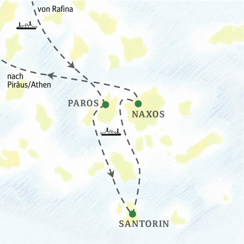 Auf dieser Wander-Studienreise erkunden und erwandern Sie drei der schönsten Kykladeninseln: Paros, Naxos und Santorin.