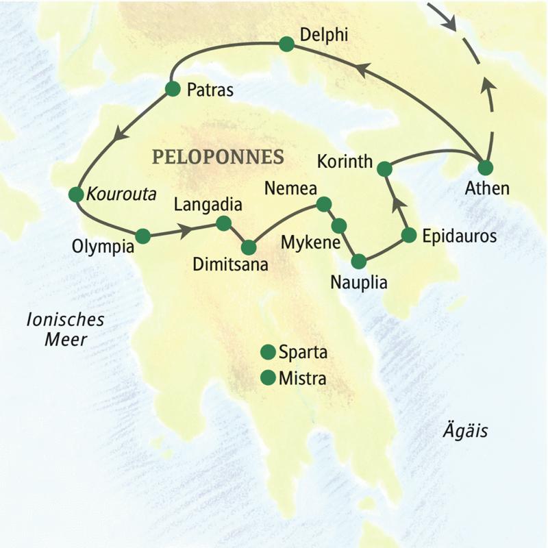 Diese Studienreise führt Sie in elf Tagen geruhsam und mit Muße zu den Höhepunkten des klassischen Griechenland: Athen, Delphi, Olympia, Mykene, Nauplia und Epidauros, auf Wunsch auch Mistra und Sparta. Die bequemen Hotels und viel Freizeit sorgen für einen entspannten Reiseverlauf.