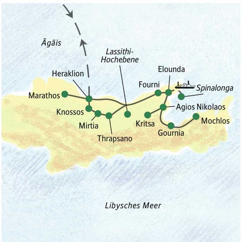 Unserer Studienreise startet und endet in Heraklion. Von einem komfortablen Badehotel in Elounda aus erkunden wir die Insel.