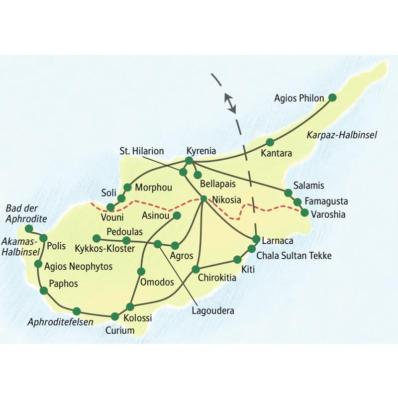 Unsere inhaltsreichste und intensivste Studienreise nach Zypern führt Sie in 14 Tagen und in kleiner Gruppe zu den kulturellen Höhepunkten in Süd- und Nordzypern.