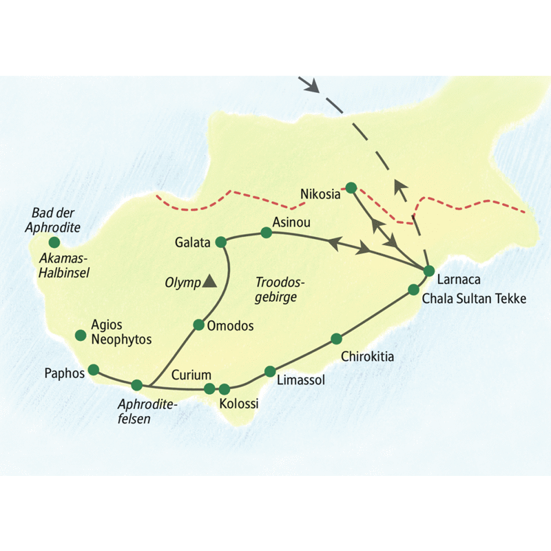 Die Reiseroute Ihrer Studienreise Zypern - Sonneninsel: Von zwei komfortablen Badehotels in Larnaca und Paphos schwärmen wir im Süden der Mittelmeerschönheit ins Inselleben aus - zu geheimnisvollen Scheunendachkirchen im Troodosgebirge oder Römerstätten mit Küstenkulisse.