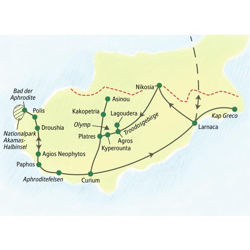 Diese zehntägige WanderStudienreise konzentriert sich vor allem auf den südlichen Teil Zyperns. Die meist mittleren bis anspruchsvollen Wanderungen führen Sie in weitgehend unberührte Natur.