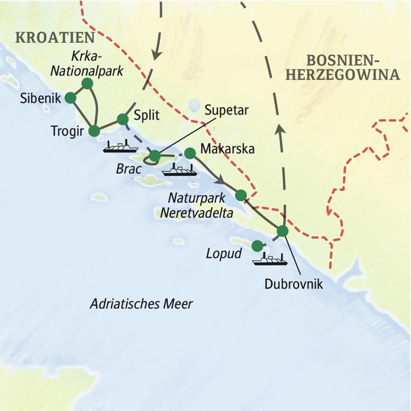 In acht Tagen reisen Sie entspannt die traumhafte kroatische Küste zwischen Split und Dubrovnik entlang. Drei Hotels am Meer, vier Stätten des UNESCO-Welterbes und eine Bootsfahrt im Neretvadelta runden unsere Studienreise Kroatien - die traumhafte Küste Dalmatiens angenehm ab.