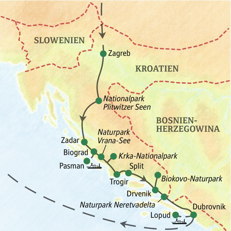 Auf unserer Wander-Studienreise Kroatien - Küste und Naturparks aktiv erleben erwarten Sie vielfältige Eindrücke: Wanderungen an ursprünglichen Küsten und auf herrlichen Inseln, viele landestypische Gaumengenüsse, Bilderbuchstädte und viele Begegnungen mit Land und Leuten.