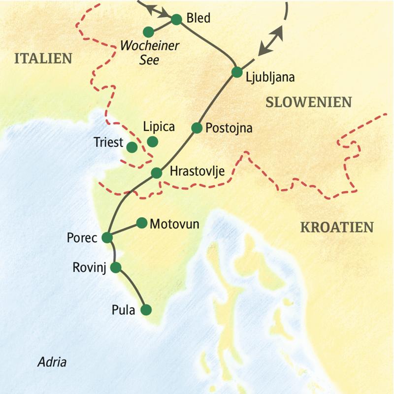 Auf der Studienreise nach Slowenien und Istrien sehen Sie zum Beispiel Ljubljana, Postojna, Porec oder Pula