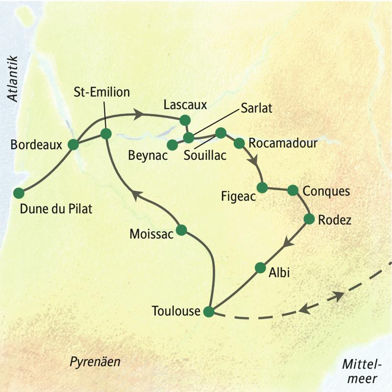 Reiseroute der zwölftägigen Studienreise durch Südwestfrankreich von Toulouse nach Bordeaux und ins Périgord