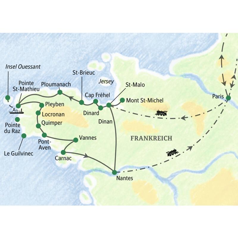 Diese zwölftägige Bretagne-Studienreise auf die vom Atlantik umspülte Halbinsel beginnt und endet in Nantes. Sie führt zu Menhiren, ummauerten Küstenstädten, Felsenküsten und weißsandigen Stränden. Wir erkunden u.a. den Mont St-Michel, St-Malo, St-Brieuc, die Insel Ouessant, Quimper, Pont-Aven und Carnac.