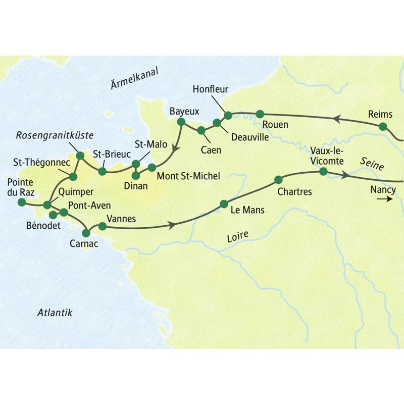 Die Reiseroute der Studienreise in die Normandie und in die Bretagne führt u.a. über Reims, Honfleur, St-Malo, Pointe du Raz, Carnac,Vannes und Chartres nach Nancy.