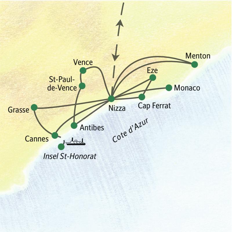 Klassische Studienreise mit Aufenthalt in Nizza, Ausflüge zu den weltbekannten Museen der Umgebung, nach Antibes, Grasse, Monaco, Menton und zur Insel St-Honorat.