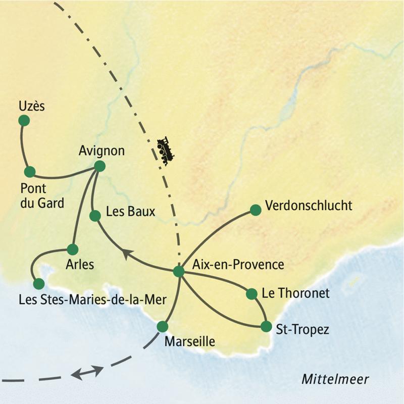 Auf dieser Studienreise durch die Provence machen wir Staion in Avignon und Aix-en-Provence, sehen u.a. die Verdunschlucht, Pont du Gard, Arles, fahren ans Meer nach Les Stes-Maries-de-la-Mer, entdecken Marseille und St-Tropez.