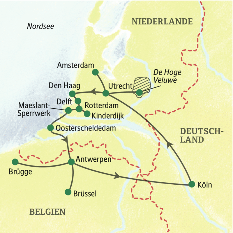 Auf dieser Studienreise entdecken Sie die Vielfalt der Niederlande und Belgiens: Amsterdam und Rotterdam, Delft und Utrecht, Antwerpen und Brügge und zum Abschluss Brüssel.