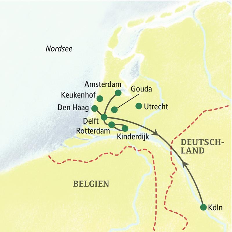Siebentägige Studienreise mit Muße durch die Niederlande von einem Standort aus. Von Delft aus werden u.a. Amsterdam, Den Haag und Rotterdam besucht.