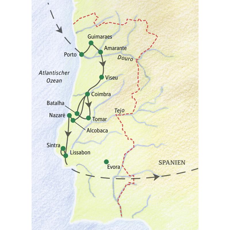 Unsere Studienreise durch Portugal folgt dem Verlauf: Beginn in Porto, Guimaraes, Amarante, Viseu, Coimbra, Tomar, Batalha, Alcobaca, Nazaré, Lissabon.