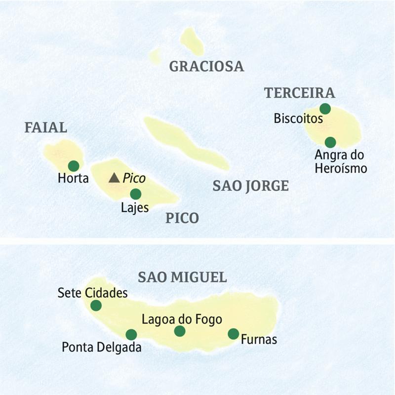 Die Karte zeigt die Azoreninseln Faial, Sao Miguel, Pico, Sao Jorge, Terceira, Graciosa mit den Orten Angra do Heroísmo, Lajes, Horta, Sete Cidades, Ponta Delgada, Lagao do Fogo und Furnas.